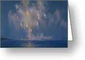 Fireworks Painting Greeting Cards - The Grand Finale Greeting Card by Lendall Pitts