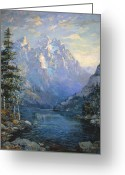 Grand Tetons Greeting Cards - The Grand Tetons and Jenny Lake Greeting Card by Lewis A Ramsey