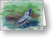 Great Painting Greeting Cards - The Great Blue Heron Greeting Card by Zaira Dzhaubaeva