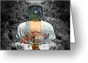 Dj Florek Greeting Cards - The Great Buddha Greeting Card by DJ Florek