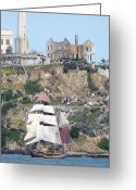 Alcatraz Greeting Cards - The great escape Greeting Card by Jake Johnson