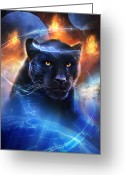 Mystical Greeting Cards - The Great Feline Greeting Card by Philip Straub