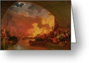 Catastrophe Greeting Cards - The Great Fire of London Greeting Card by Philip James de Loutherbourg