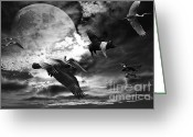Flying Pigs Greeting Cards - The Great Migration . Black and White Greeting Card by Wingsdomain Art and Photography
