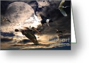 Flying Pigs Greeting Cards - The Great Migration . Full Color Greeting Card by Wingsdomain Art and Photography