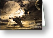 Flying Pigs Greeting Cards - The Great Migration Greeting Card by Wingsdomain Art and Photography
