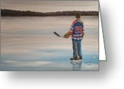 Minor Hockey Greeting Cards - The Great One Greeting Card by Ron  Genest