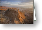 Desolate Landscapes Greeting Cards - The Great Refuge Of Masada Looms Greeting Card by Michael Melford