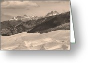 Colorado Prints Greeting Cards - The Great Sand Dunes Sepia Print 45 Greeting Card by James Bo Insogna