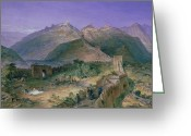 Great Painting Greeting Cards - The Great Wall of China Greeting Card by William Simpson