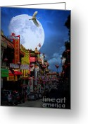 Big Cities Greeting Cards - The Great White Phoenix of Chinatown . 7D7172 Greeting Card by Wingsdomain Art and Photography