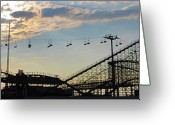 Wooden Coaster Greeting Cards - The Great White Roller Coaster - Adventure Pier Wildwood NJ Greeting Card by Bill Cannon