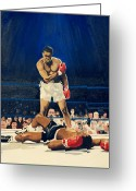 Sports Art Painting Greeting Cards - The Greatest  Muhammad Ali Greeting Card by Ronald Young