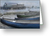 Sea Kayak Greeting Cards - The Green Canoe Greeting Card by Debra and Dave Vanderlaan