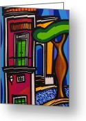 Modern Art Greeting Cards - The Green Door Greeting Card by Mary Tere Perez