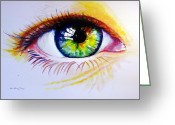 Retratos Greeting Cards - The Green Eye Greeting Card by Estela Robles