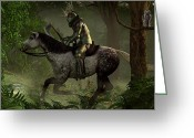 King Arthur Greeting Cards - The Green Knight Greeting Card by Daniel Eskridge