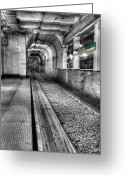 Train Track Greeting Cards - The Green Line Greeting Card by JC Findley