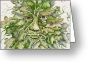 Man Ceramics Greeting Cards - The Green Man Greeting Card by Angelina Whittaker Cook