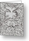 Ent Greeting Cards - The Green Man Greeting Card by Mortimer Sparrow