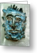 Man Ceramics Greeting Cards - The Green Man Greeting Card by Paula Maybery