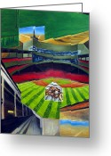 Red Sox Drawings Greeting Cards - The Green Monster Greeting Card by Chris Ripley