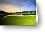 Golf Green Greeting Cards - The Green Greeting Card by Scott Pellegrin