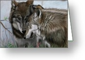 Mammals Pastels Greeting Cards - The Greeting Greeting Card by Deb LaFogg-Docherty