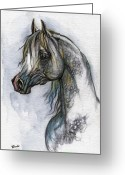 Grey Drawings Greeting Cards - The Grey Arabian Horse 10 Greeting Card by Angel  Tarantella