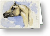 Equine Watercolor Portrait Greeting Cards - The grey arabian horse 12 Greeting Card by Angel  Tarantella