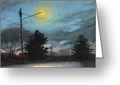 Street Lights Drawings Greeting Cards - The Guardian Greeting Card by Arthur Barnes