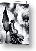 Angel Statue Greeting Cards - The Guardian Greeting Card by Gabriela Insuratelu