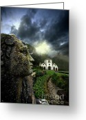 Stormy Sky Greeting Cards - The Guardian Greeting Card by Meirion Matthias
