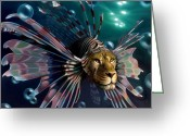 Lion Painting Greeting Cards - The Guardian Greeting Card by Patrick Anthony Pierson