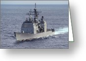Frigate Greeting Cards - The Guided Missile Cruiser Uss Cowpens Greeting Card by Stocktrek Images