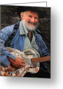Denim Jacket Greeting Cards - The Guitar Player Greeting Card by Harry Robertson