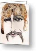 The Beatles Mixed Media Greeting Cards - The Guru as George harrison  Greeting Card by Mark M  Mellon
