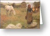 Gipsy Greeting Cards - The Gypsy Camp Greeting Card by Harold Harvey