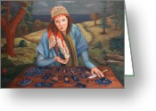 Spiritual Art Greeting Cards - The Gypsy Fortune Teller Greeting Card by Enzie Shahmiri