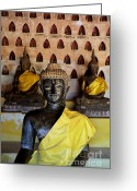 Lao Greeting Cards - The Hall of Buddhas I in colour Greeting Card by Dean Harte