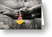 Buddhist Digital Art Greeting Cards - The Hand of Buddha Greeting Card by Adrian Evans