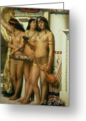 Orientalist Greeting Cards - The Handmaidens of Pharaoh Greeting Card by John Collier