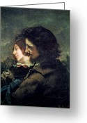 Courbet Greeting Cards - The Happy Lovers Greeting Card by Gustave Courbet