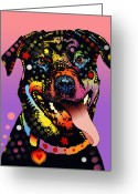 Dean Russo Art Painting Greeting Cards - The Happy Rottie Greeting Card by Dean Russo