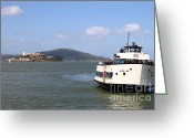 Light Houses Greeting Cards - The Harbor King Ferry Boat On The San Francisco Bay With Alcatraz Island in The Distance . 7D14355 Greeting Card by Wingsdomain Art and Photography