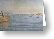 Pointillist Painting Greeting Cards - The Harbour at Portrieux Greeting Card by Paul Signac