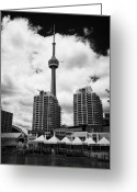 Harborfront Greeting Cards - the harbourfront centre york quay centre apartment buildings and CN tower toronto ontario Greeting Card by Joe Fox