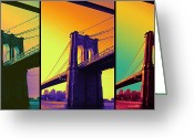 Brooklyn Bridge Mixed Media Greeting Cards - The hardest thing in life to learn is which bridge to cross  Greeting Card by Jennifer Bodrow