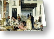 Orientalists Greeting Cards - The Harem Greeting Card by John Frederick Lewis