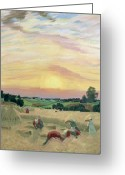 Scythe Greeting Cards - The Harvest Greeting Card by Boris Mikhailovich Kustodiev